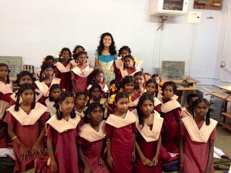 Anu Suppiah with govt school girls summer 2014